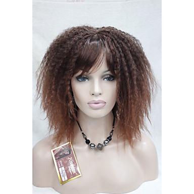 Synteettiset hiukset Peruukit Afro Kinky Curly Otsatukalla Suojuksettomat
