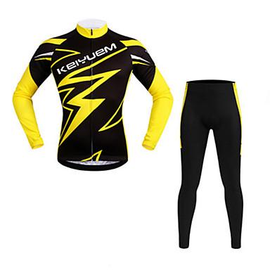 骑缘 חולצה וטייץ לרכיבה יוניסקס שרוול ארוך אופניים עמיד למים נושם ייבוש מהיר עמיד מבודד מוגן מגשם עמיד לאבק דחיסה חומרים קליםחולצה+מכנס