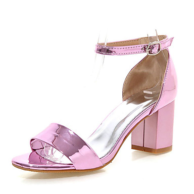Damen Schuhe Kunstleder Sommer Blockabsatz Rot / Rosa / Golden / Block Fersen Sandalen