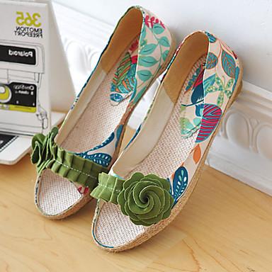 Feminino Sapatos Courino Primavera Verão Outono Salto Baixo Flor Para Casual Social Roxo Verde