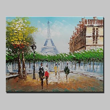 pieni käsinmaalattu Pariisi Eiffel-torni maisema moderni öljyvärimaalaus kankaalle yhden paneelin valmis roikkumaan