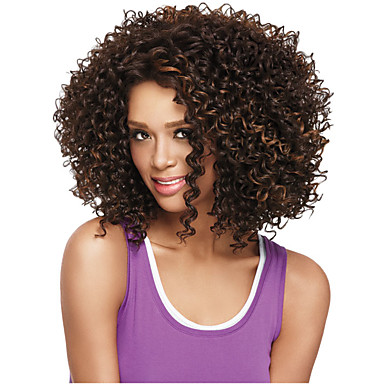 Synthetic Wig Curly Synthetic Hair African American Wig Wig Women's Medium Length Capless