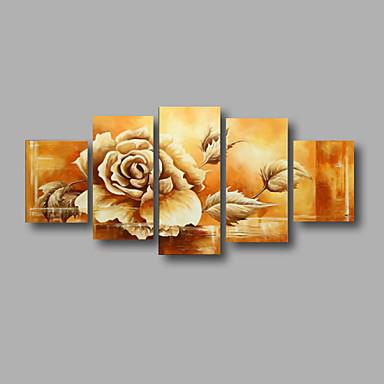 Hang-Ölgemälde Handgemalte - Blumenmuster / Botanisch Modern Segeltuch Fünf Panele