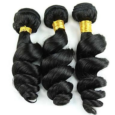 Cabelo Humano Ondulado Cabelo Peruviano Ondulação Larga 3 Peças tece cabelo