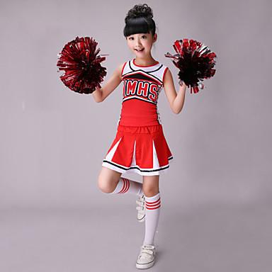 Cheerleader-Kostüme Austattungen Kinder Leistung Baumwolle Elasthan Muster / Druck Ärmellos Hoch Top Rock