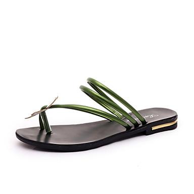 샌달-드레스 / 캐쥬얼-여성의 신발-열린 앞코-레더렛-플랫-블랙 / 그린 / 레드 / 실버