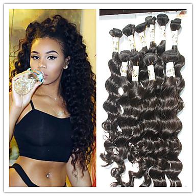 baratos Extensões de Cabelo Natural-Cabelo Brasileiro Onda Profunda 8A Cabelo Humano Cabelo Humano Ondulado Tramas de cabelo humano Extensões de cabelo humano