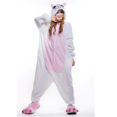 Kigurumi-Pyjamas Katze Pyjamas-Einteiler Kostüm Polar-Fleece Weiß Cosplay Für Erwachsene Tiernachtwäsche Karikatur Halloween Fest /