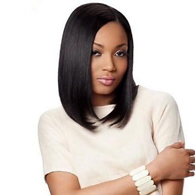 halpa Aitohiusperuukit verkolla-Aidot hiukset Liimaton puoliverkko Full Lace Lace Front Peruukki Bob-leikkaus tyyli Brasilialainen Suora Peruukki 130% Hiusten tiheys ja vauvan hiukset Luonnollinen hiusviiva Afro-amerikkalainen