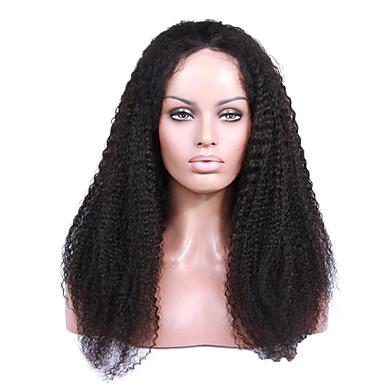 Mulher Perucas de Cabelo Natural Renda Frontal Sem Cola Glue parte dianteira do laço 130% 150% Densidade Kinky Curly perucas Preto jet