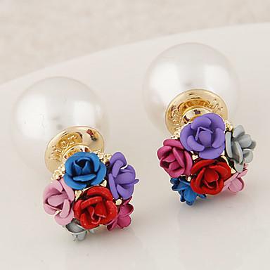 עגילים צמודים אופנתי פנינה דמוי פנינה סגסוגת זהב אפור אדום כחול קשת תכשיטים ל 2pcs