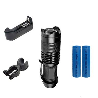 ZK50 LED Lommelygter LED 2000lm 3 lys tilstand med batterier og lader Zoombare / Justerbart Fokus / Nedslags Resistent Camping / Vandring