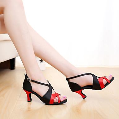 baratos Sapatos de Salsa-Mulheres Cetim Sapatos de Dança Latina / Sapatos de Salsa Presilha Sandália Salto Personalizado Personalizável Marrom / Laranja / Púrpura / Interior / Couro / EU40
