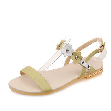 נעלי נשים-סנדלים-עור-רצועה אחורית / פתוח-ירוק / לבן / בז'-שמלה / קז'ואל-עקב שטוח