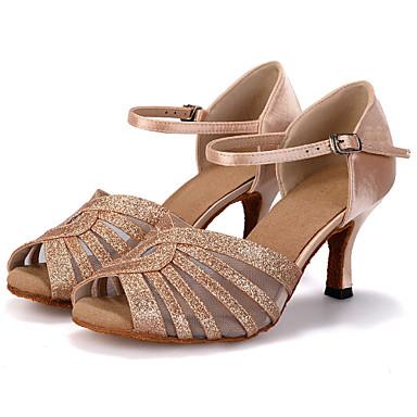 baratos Sapatos de Salsa-Mulheres Sapatos de Dança Glitter / Cetim Sapatos de Dança Latina / Sapatos de Salsa Gliter com Brilho / Presilha / Vazados Sandália / Salto / Têni Salto Carretel Personalizável Vermelho / Azul