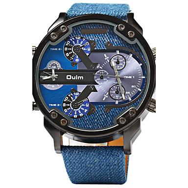 Oulm Homens Relógio Esportivo / Relógio Militar Dois Fusos Horários / Legal Couro Banda Luxo Azul