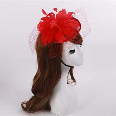 Flax Feather net fascinators headpiece Estilo clássico feminino