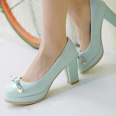 Damen Schuhe Kunstleder Frühling Sommer Blockabsatz Plattform für Büro & Karriere Kleid Weiß Blau Rosa