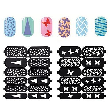 10 Furador de Manicure Diecut Etiquetas de unhas 3D Abstracto Fashion Diário Alta qualidade
