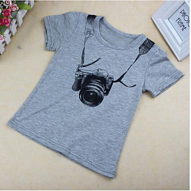 baratos Camisas para Meninos-Bébé Para Meninos Manga Curta Algodão Camiseta Cinzento