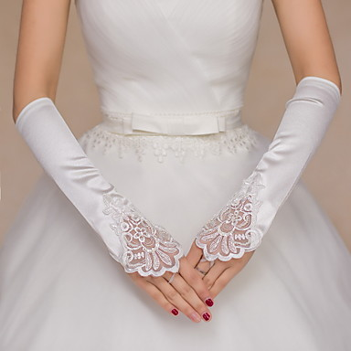 Spitze / Satin Ellenbogen Länge Handschuh Brauthandschuhe / Party / Abendhandschuhe Mit Perlenstickerei / Paillette / Stickerei