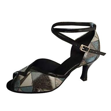 Mulheres Sapatos de Dança Latina Courino Sandália Salto Agulha Não Personalizável Sapatos de Dança Cinza-Acastanhado / Interior / Espetáculo / Couro / Ensaio / Prática / Profissional