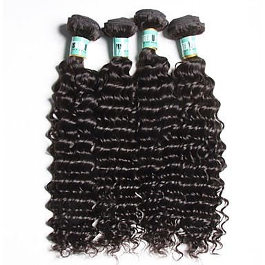İnsan saç örgüleri Orta Dalgalı Malezya Saçı Derin Dalga 4 Parça saç örgüleri