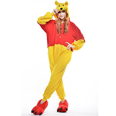 Kigurumi-Pyjamas Bär Pyjamas-Einteiler Kostüm Polar-Fleece Gelb Cosplay Für Erwachsene Tiernachtwäsche Karikatur Halloween Fest /