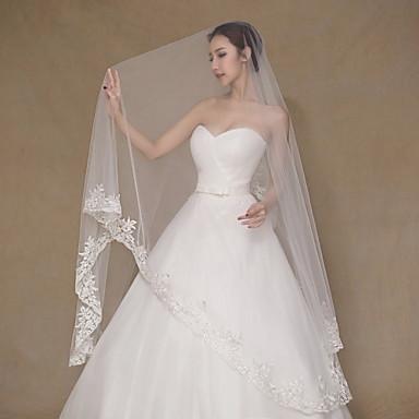 Uma Camada Borda com aplicação de Renda Véus de Noiva Véu Capela Com Bordado Renda Tule