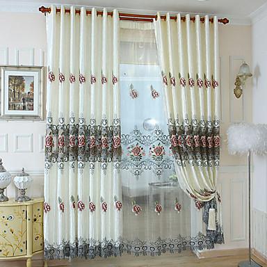Purjerengas Kynälaskostettu 2 paneeli Window Hoito Moderni , Kirjailu Living Room Polyesteri materiaali verhot Drapes Kodinsisustus