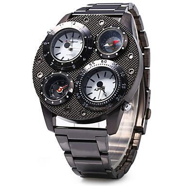 SHI WEI BAO Herrn Militäruhr Thermometer / Kompass / Drei-Zeit-Zonen Edelstahl Band Luxus Schwarz / Zwei jahr / SOXEY SR626SW