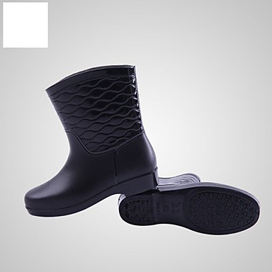נעלי נשים-מגפיים-גומי-מגפי גשם-שחור / צהוב / אדום-שטח-עקב נמוך