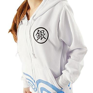 에서 영감을 받다 긴타마 Gintoki Sakata 에니메이션 코스프레 코스츔 코스프레 후드 프린트 긴 소매 코트 제품 남성 여성