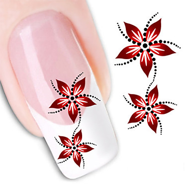 1Pc Blomst / Mote 3D Nail Stickers Daglig