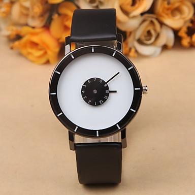 남성용 손목 시계 독특한 창조적 인 시계 석영 가죽 밴드 블랙 화이트