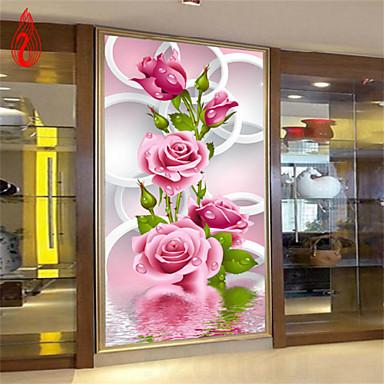 DIY 5d Diamanten Stickerei rosa Rose Zauberwürfel runden Malerei Kreuzstich Kits Diamant Mosaik Hauptdekoration