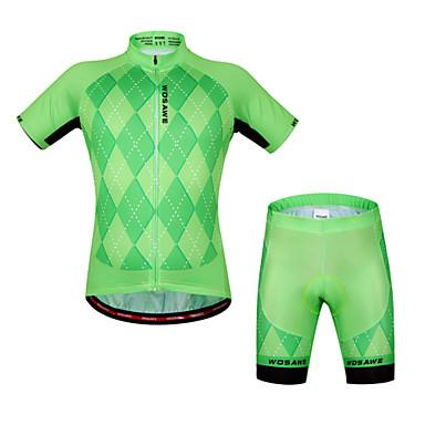 WOSAWE שרוולים קצרים חולצת ג'רסי ומכנס קצר לרכיבה - ירוק / שחור אופניים מכנסיים קצרים ג'רזי מדים בסטים, 3D לוח, ייבוש מהיר, עיצוב אנטומי,