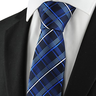 עניבה-משובץ (רשת)(שחור / כחול / לבן,פוליאסטר)