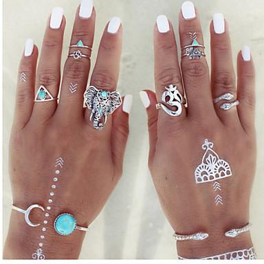 Anéis Fashion Pesta Jóias Liga Feminino Anéis Meio Dedo 8pçs,Tamanho Único Prateado