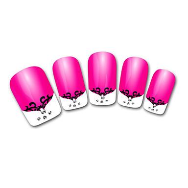 absztrakt rózsaszín francia 3d köröm matrica