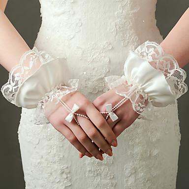 Handgelenk-Länge Ohne Finger Handschuh Nylon Elastischer Satin Brauthandschuhe Party / Abendhandschuhe Frühling Sommer Herbst Winter