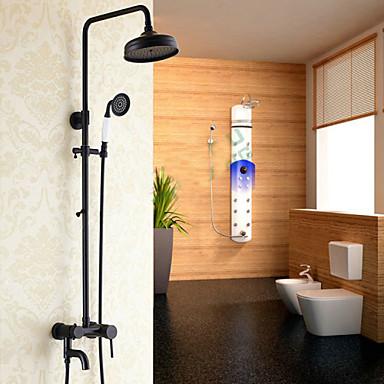 Moderne Mittellage Wasserfall Regendusche Handdusche inklusive Keramisches Ventil Ein Loch Einzigen Handgriff Zwei Löcher Chrom,