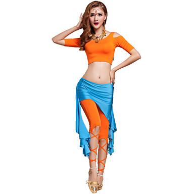 밸리 댄스 의상 여성용 훈련 모달 십자 2 개 짧은 소매 내츄럴 바지 / 위 M:35cm/L:37cm