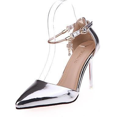 נשים נעליים דמוי עור קיץ עקב סטילטו קריסטל ל קזו'אל כסף ורוד מוזהב