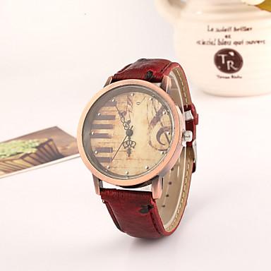 Mulheres Relógio de Pulso Venda imperdível PU Banda Vintage / Fashion / Relógio Elegante Preta / Vermelho / Marrom