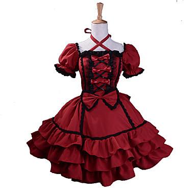 7eda3f24f4 Hercegnő Gótikus Lolita Édes Lolita Női Lány Ruhák Cosplay Piros Báli ruha  Puffos Rövid ujjú Mini Extra méret Testreszabott Jelmez 522917 2019 – $66.49
