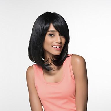 Ludzkie Włosy Capless Peruki Włosy naturalne Kinky Straight Część Boczna Medium Tkany maszynowo Peruka Damskie