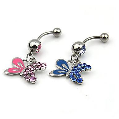 בגדי ריקוד נשים תכשיטי גוף Navel & Bell Button Rings פאר קריסטל יהלום מדומה פרפר חיה תכשיטים עבור יומי קזו'אל