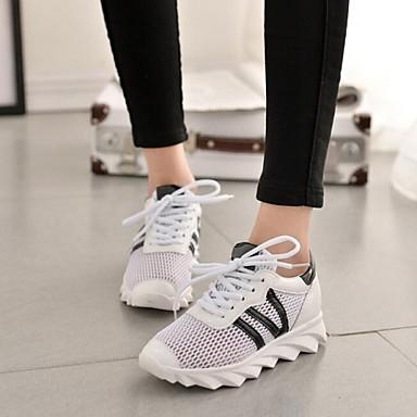 נעלי נשים-סניקרס אופנתיים-עור פטנט-נוחות-שחור / לבן-שטח / קז'ואל / ספורט-עקב נמוך