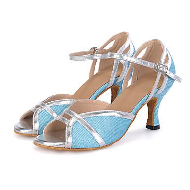 Damen Latin Glitzer Sandalen Sneaker Absätze Leistung Glitter Schnalle Ausgehöhlt Keilabsatz Mahagoni Pfirsich Lila Hellblau 2